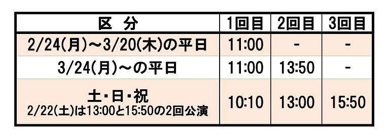 公演時間PS埼玉